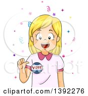 Clipart Of A Blond White Girl Wearing A Vote Badge Royalty Free Vector Illustration
