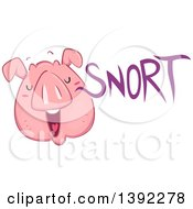 Clipart Of A Snorting Pig Royalty Free Vector Illustration