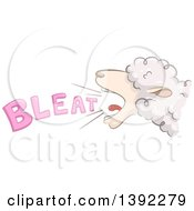 Clipart Of A Bleating Sheep Royalty Free Vector Illustration by BNP Design Studio