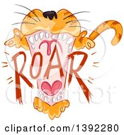 Clipart Of A Roaring Tiger Royalty Free Vector Illustration by BNP Design Studio