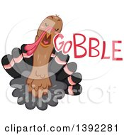 Clipart Of A Turkey Making A Gobble Noise Royalty Free Vector Illustration