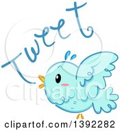 Clipart Of A Blue Bird Tweeting Royalty Free Vector Illustration