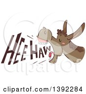 Clipart Of A Donkey Braying With Hee Haw Text Royalty Free Vector Illustration