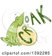 Clipart Of A Croaking Bull Frog Royalty Free Vector Illustration