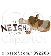 Clipart Of A Neighing Horse Royalty Free Vector Illustration