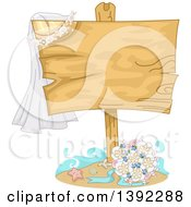 Wedding Bouquet And Shells Under A Blank Wood Sign With A Veil