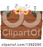 Clipart Of A Rustic Themed Wooden Wedding Sign With Flowers Royalty Free Vector Illustration