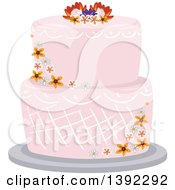 Clipart Of A Garden Themed Wedding Cake With Flowers Royalty Free Vector Illustration by BNP Design Studio