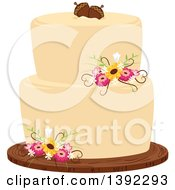 Clipart Of A Rustic Themed Wedding Cake With Flowers And Acorns Royalty Free Vector Illustration