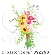 Clipart Of A Rustic Themed Wedding Floral Bouquet Royalty Free Vector Illustration by BNP Design Studio