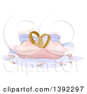 Clipart Of A Pillow With Wedding Rings Royalty Free Vector Illustration by BNP Design Studio