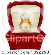Clipart Of A Diamond Ring In A Jewelery Box Royalty Free Vector Illustration