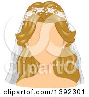 Faceless Blond White Bride In A Wedding Veil