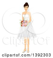 Clipart Of A Brunette White Bride Posing In A Wedding Dress Royalty Free Vector Illustration