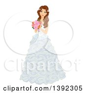 Clipart Of A Brunette White Bride Posing In A Wedding Gown With Frills Royalty Free Vector Illustration