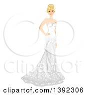 Blond White Bride Posing In A Strapless Wedding Gown