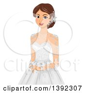Clipart Of A Brunette White Bride Posing In A Wedding Gown Royalty Free Vector Illustration