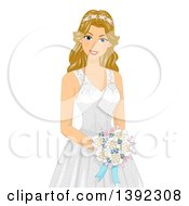 Clipart Of A Happy Blond White Brid Wearing A Gown Decorated In Shells For A Beach Wedding Royalty Free Vector Illustration