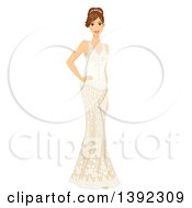 Brunette White Bride Posing In A Wedding Gown