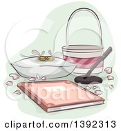 Clipart Of A Pair Of Wedding Rings A Bridal Registry Book Basket Petals And Pen Royalty Free Vector Illustration