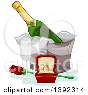Clipart Of A Diamond Engagement Ring Champagne Glasses And A Rose Royalty Free Vector Illustration by BNP Design Studio