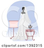 Clipart Of A Wedding Gown On A Mannequin Royalty Free Vector Illustration