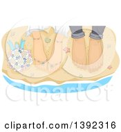 Clipart Of Feet Of A Newlywed Couple Standing At The Edge Of The Surf On A Beach Royalty Free Vector Illustration