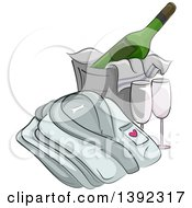 Clipart Of A Folded Bath Robe By A Bucket Of Cooled Champagne And Glasses Royalty Free Vector Illustration