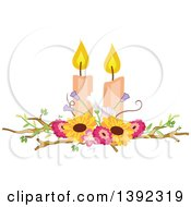 Clipart Of A Rustic Themed Wedding Candle And Flower Table Centerpiece Royalty Free Vector Illustration