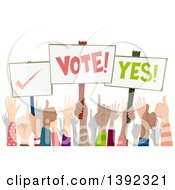 Clipart Of A Crowd Of Hands Some Holding Up Election And Voting Placards Royalty Free Vector Illustration