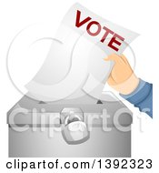 Clipart Of A Hand Putting A Ballot In A Box Royalty Free Vector Illustration