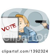 Clipart Of A White Man Sweating And Being Held At Gunpoint In A Voter Booth Royalty Free Vector Illustration by BNP Design Studio