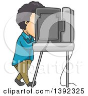 Clipart Of A Man Using A Voting Machine In A Booth Royalty Free Vector Illustration