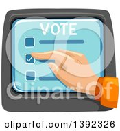 Clipart Of A Hand Selecting A Box On A Voter Screen Royalty Free Vector Illustration by BNP Design Studio
