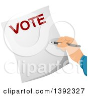 Clipart Of A Hand Writing On A Voters Ballot Royalty Free Vector Illustration