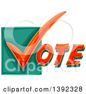 Clipart Of A Check Mark Starting The Word VOTE Royalty Free Vector Illustration
