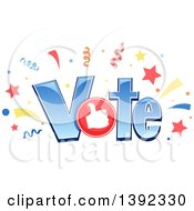 Clipart Of The Word VOTE With Confetti Stars And A Thumb Up Royalty Free Vector Illustration