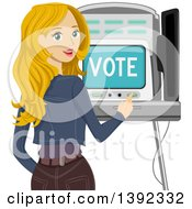 Clipart Of A Blond White Woman Looking Back And Using A Voting Machine Royalty Free Vector Illustration