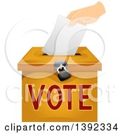 Clipart Of A Hand Inserting A Voters Ballot In A Box Royalty Free Vector Illustration