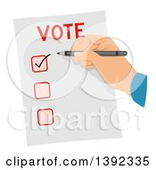 Clipart Of A Man Checking A Box On A Voter Ballot Royalty Free Vector Illustration