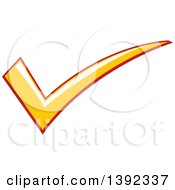 Clipart Of A Yellow And Red Check Mark Royalty Free Vector Illustration