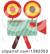 Clipart Of A Flat Design Movie Camera Royalty Free Vector Illustration