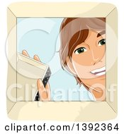 Clipart Of A Happy Teenage White Guy Opening A Box Royalty Free Vector Illustration