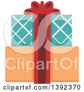 Clipart Of Flat Design Gift Boxes Royalty Free Vector Illustration