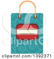 Clipart Of A Flat Design Gift Bag Royalty Free Vector Illustration