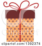 Clipart Of A Flat Design Gift Box Royalty Free Vector Illustration