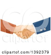Clipart Of Rich And Poor Male Hands Shaking Royalty Free Vector Illustration