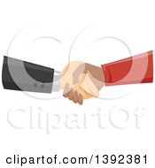 Clipart Of White And Black Male Hands Shaking Royalty Free Vector Illustration