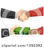 Clipart Of Hands Stricking A Shady Deal And Exchanging Cash Money Royalty Free Vector Illustration