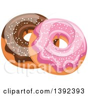 Clipart Of Pink And Chocolate Glazed Donuts Royalty Free Vector Illustration by Vector Tradition SM